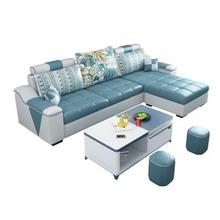 简约现su布艺沙发(小)sl技整装可拆洗转角三的位免洗客厅布沙发