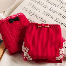 外贸日系 本命年大红色 甜美蕾丝性su14包臀 sl棉女士内裤