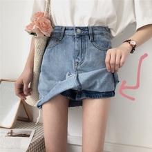 女夏装su款chic4d字裤裙学生显瘦半身裙毛边流苏牛仔短裙