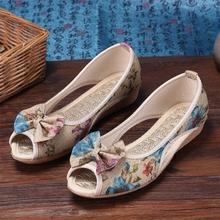 新式老su京布鞋中年4d气防滑亚麻平底浅口凉鞋软底妈妈女单鞋