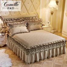 欧式夹su蕾丝花边单an纯色加厚床罩床套床单席梦思保护套1.8m