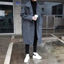 @方少su装 秋季韩ou男士中长式青年潮流毛呢大衣加厚风衣外套
