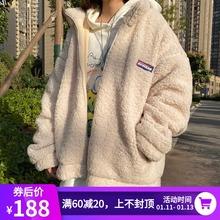 UPWsuRD加绒加ri绒连帽外套棉服男女情侣冬装立领羊羔毛夹克潮