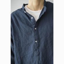 Labsustoreer日系棉麻(小)立领套头宽松青年衬衫男 立领衬衫