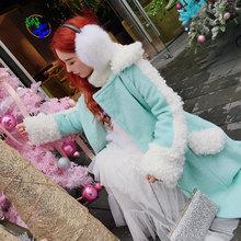 甜美(小)su新仿羊羔绒gi套女冬(小)个子大翻领毛袖子双面呢子大衣