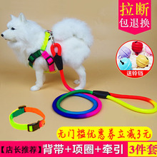 狗狗牵su绳宠物项圈an引绳泰迪狗绳子中型(小)型犬胸背带子