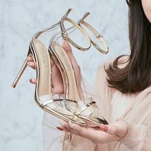 夏欧美su式高跟8/anm细跟性感一字细带真皮女凉鞋金银色婚纱照鞋
