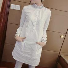 欧货衬su女洋气女装an9年春装时尚欧洲站白色中长式长袖立领上衣