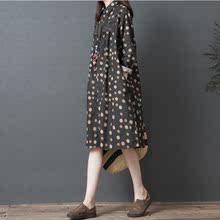 202su春装新式女en波点衬衫中长式棉麻连衣裙宽松亚麻衬衣裙子
