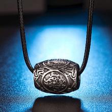 四大神su中国风项链en复古六字真言吊坠男佛系个性钛钢转运珠