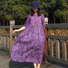 苎麻连su裙紫色印花en长裙宽松系带中袖民族风棉麻中国风裙子