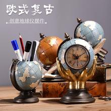 创意笔筒复古男su欧款时尚个sy办公桌面饰品北欧精致(小)摆件