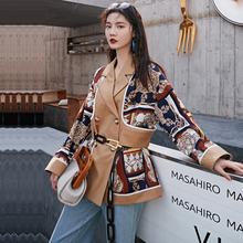 ANNsu0原创春秋an年复古印花休闲拼接(小)众西装女设计感中长式外套