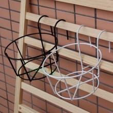 壁挂圆形铁框花架PP树脂浮雕花边盆铁质防锈挂墙上架子欧式铁筐架