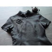 龙妙纯su麻全盘扣改ng夏短袖民国风大襟斜襟中式女装 默