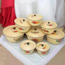 老式搪sv盆子经典猪im盆带盖家用厨房搪瓷盆子黄色搪瓷洗手碗