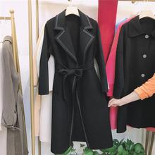 201sw新式西装领us新式双面羊绒大衣纯黑色全羊毛女式毛呢外套