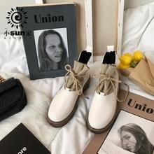 (小)susw家 instc靴街拍厚底粗跟英伦风复古薄式马丁靴夏潮