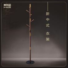 新中式sw架 美其屋tc理石底座实木落地创意网红挂衣架