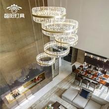 复式楼sw吊灯别墅挑pq客厅灯楼梯长后现代简约大气时尚水晶灯
