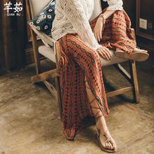 泰国海边度sx波西米亚开fb裤女宽松长裤民族风裤子裙裤沙滩裤
