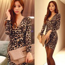 女装Vsx豹纹长袖连hg长式夏季新式大码韩款修身一步打底裙潮