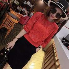 韩款蕾sy上衣女勾花sy袖2020春装红色新式宽松大码女打底衫