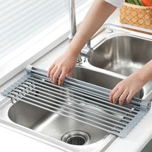 日本沥水架水槽碗架可折sy8洗碗池放sy收纳架子厨房置物架篮