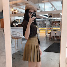 2020新款纯色西装垂坠百褶sy11半身裙vi字高腰女秋冬学生短裙