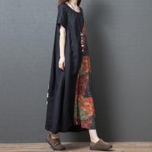 民族风sy装夏季新式rg码中国风棉麻连衣裙印花短袖长裙显瘦