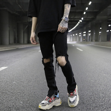 FOGsy典式破洞拉ak裤kanye高街风潮男百搭黑色修身(小)脚牛仔裤