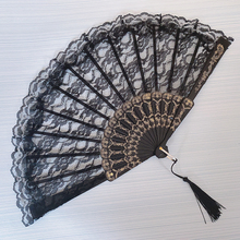 黑暗萝sz蕾丝扇子拍dw扇中国风舞蹈扇旗袍扇子 折叠扇古装黑色