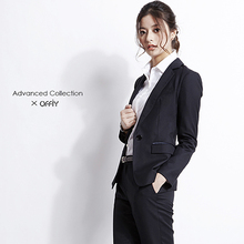 OFFszY-ADVfsED羊毛黑色公务员面试职业修身正装套装西装外套女