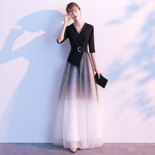 高端宴sz晚礼服女高ql气质长式主持的平时可穿星空渐变连衣裙