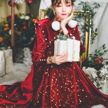 弥爱原创《sz桃夹子》圣ql冬天鹅绒复古珍珠红色长裙女连衣裙