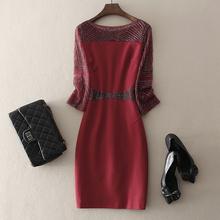 中长式sz珠婚庆喜婆ql礼服女装大码红色连衣裙子包臀秋冬新式