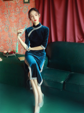 老上海sz古名媛旗袍wc式丝绒中国风年轻式优雅气质连衣秋冬
