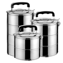 食品级sz锈钢保温饭cq3层便当盒学生多层手双层五层分格蒸餐盒