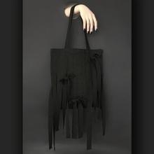 纯手工sz创山本暗黑mc织带设计蝴蝶结单肩手提环保帆布袋包邮