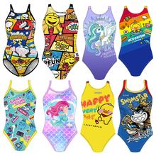 洲克儿t1连体泳衣 17专业训练比赛学游泳 女童大童加大码泳装