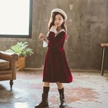 2020秋冬新式女童经典法式t311边公主b3童洋气丝绒连衣裙