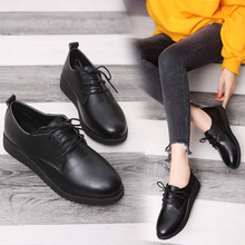 全黑肯t6基工作鞋软17中餐厅女鞋厨房酒店软皮上班鞋特大码鞋