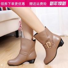 秋季女ta靴子单靴女le靴真皮粗跟大码中跟女靴4143短筒靴棉靴
