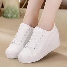 (小)白鞋ta2021春le黑白色软皮面韩款厚底内增高休闲帆布鞋女鞋