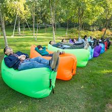户外网ta懒的充气沙an床垫单的躺椅便携式野营午休免打气折叠
