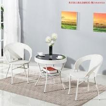 商场藤ta会客室椅洽an合户外咖啡桌(小)吃藤椅组合户外庭。