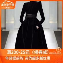 欧洲站ta020年秋du走秀新式高端女装气质黑色显瘦丝绒连衣裙潮