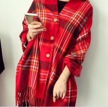 仿羊绒ta扣新式女士li肩秋冬季两用加厚流苏格子围巾韩款