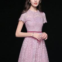 夏装2ta21新式女an蕾丝长裙气质收腰显瘦中长式仙女连衣裙