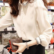 大码白ta衣女秋装新pe(小)众心机宽松上衣雪纺打底(小)衫长袖衬衫